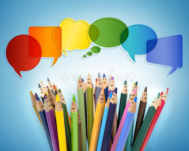 Connect and share social networks. Speech bubble. Colored pencils funny faces of people smiling. Dialogue and communication group stock images