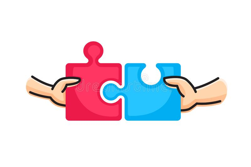 Connect two puzzle pieces. Hands putting two puzzle pieces together. Family concept. royalty free illustration