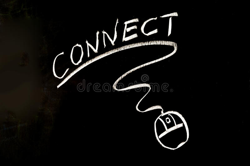 Connect word and mouse symbol stock photo