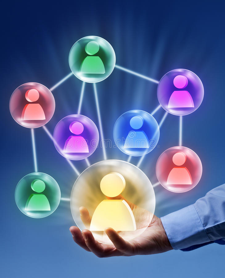 Social networking - connected bubbles royalty free stock photo