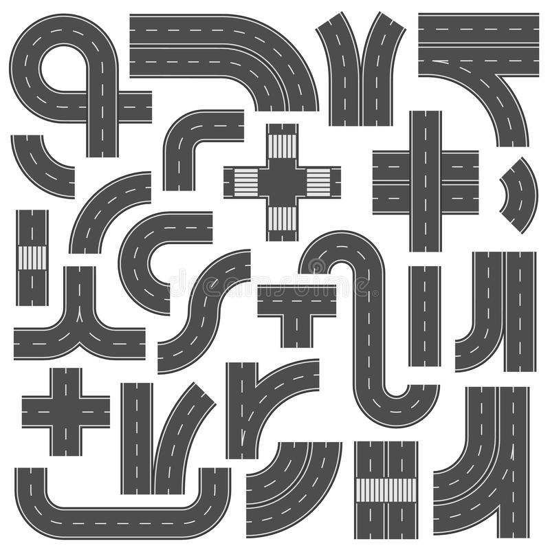 Connectable элементы дороги шоссе Метка соединения перекрестков, тропы и скоростной дороги Дороги улицы асфальта с маркировкой бесплатная иллюстрация
