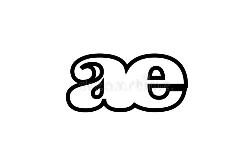 Connected ae a e black and white alphabet letter combination logo icon design. Connected or joined ae a e black alphabet letter combination suitable as a logo stock illustration