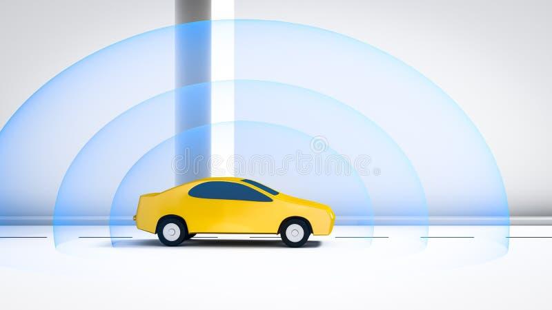 Connected automotive car vector illustration