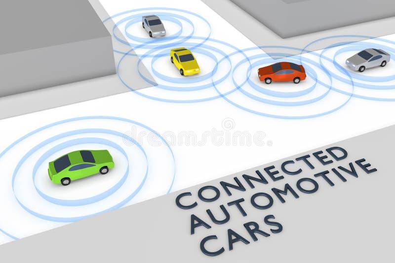 Connected autonomous cars vector illustration