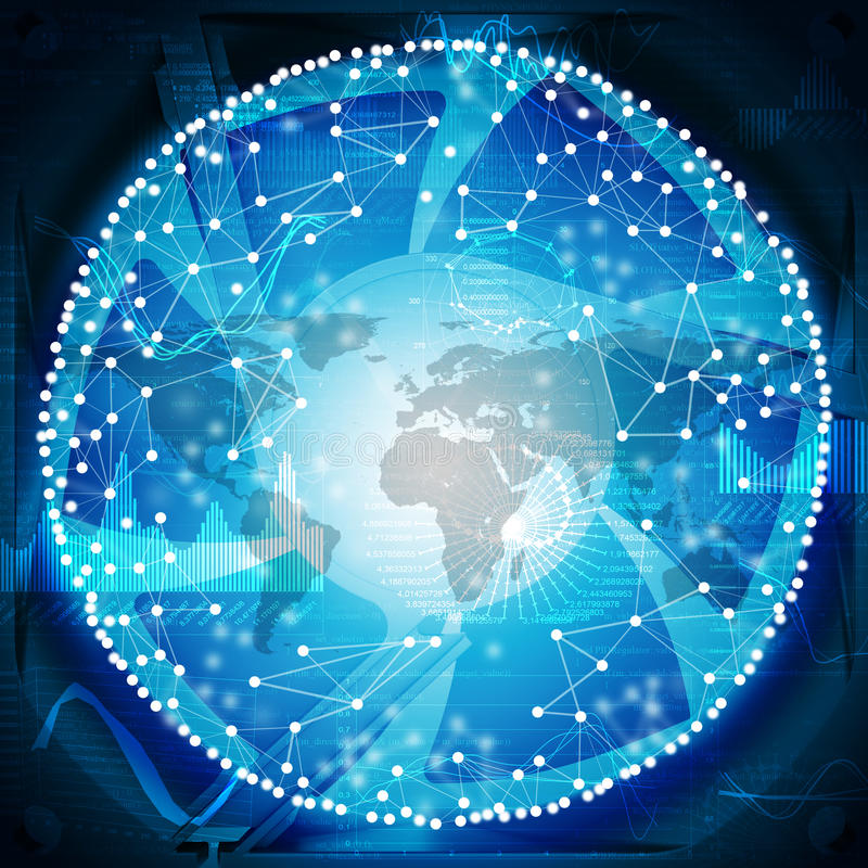 Connected bright dots with world map. Connected bright dots on abstract blue background with world map and graphical charts stock photo