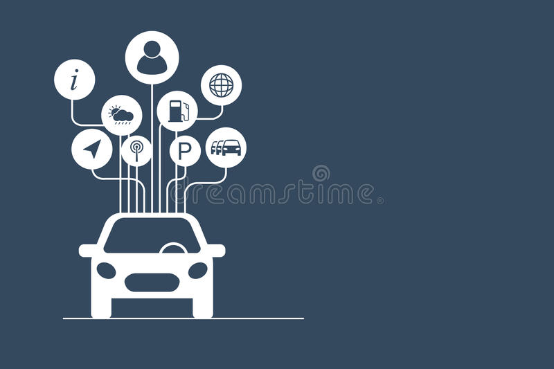 Connected car concept. Vector illustration stock illustration