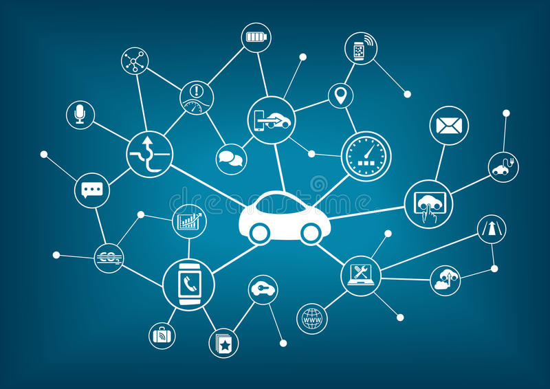 Connected car illustration. Concept of connecting to vehicles vector illustration