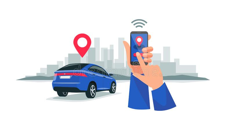 Connected Car Sharing Service Remote Controlled Via Smartphone App vector illustration
