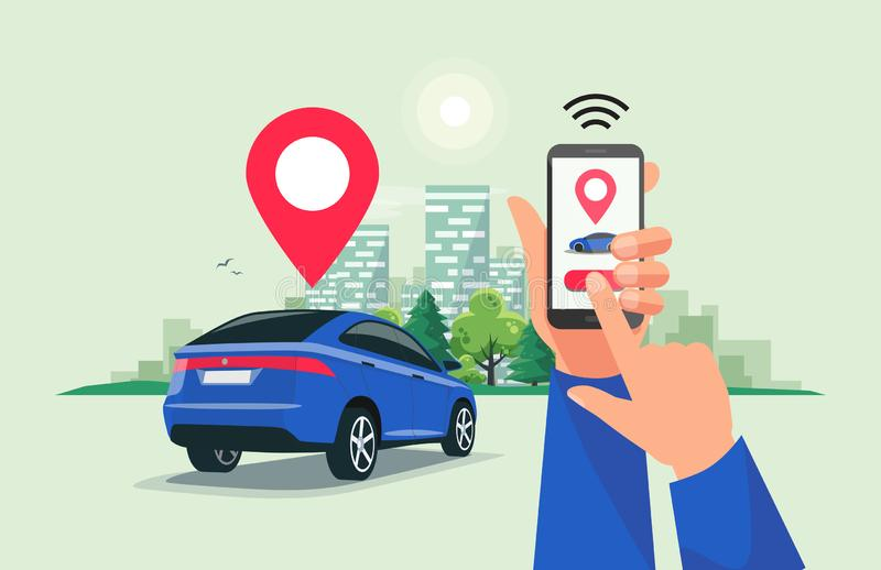 Connected Car Sharing Service Remote Controlled Via Smartphone App. Vector illustration of autonomous wireless remote connected car sharing service controlled stock illustration