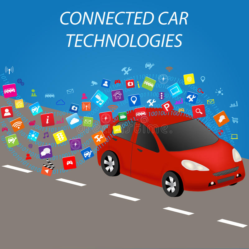 Connected Car Technologies. Smart car with application.Intelligent Transport Systems.Connected car and autonomous driving concept vector illustration