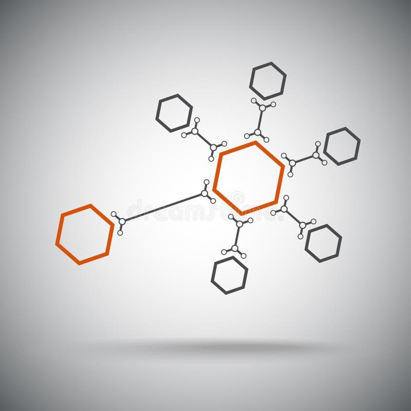 Hexagonal connection. Orange