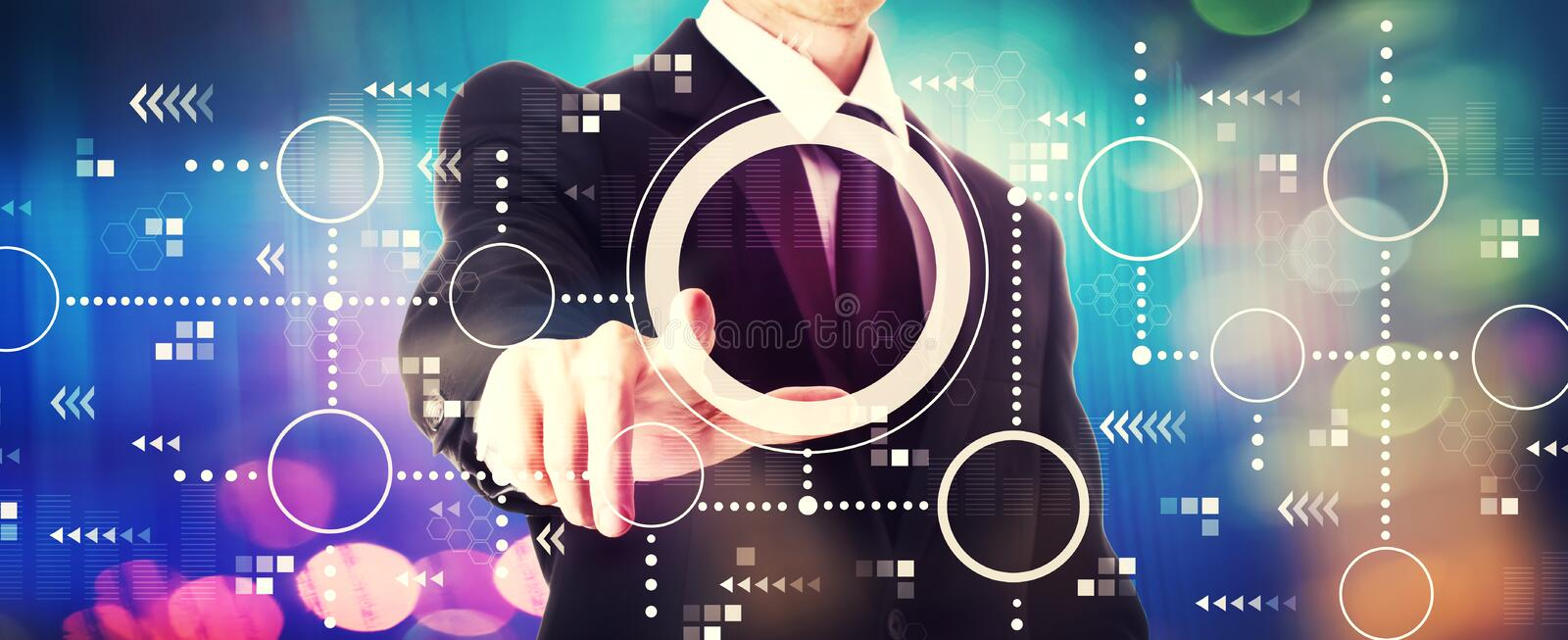 Connected circles chart with a businessman royalty free stock photography