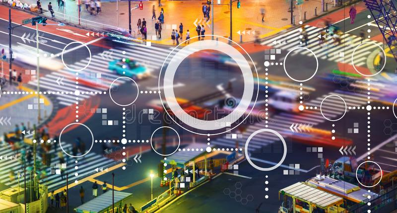 Connected circles chart with city traffic intersection. Connected circles chart with busy city traffic intersection vector illustration