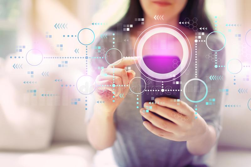 Connected circles chart with woman using a smartphone. Connected circles chart with woman using her smartphone in a living room stock photo