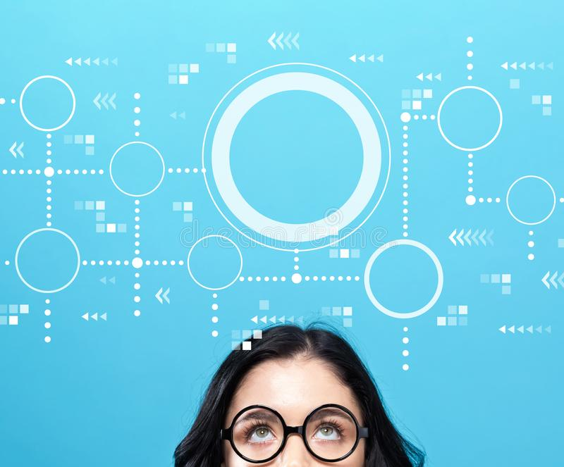 Connected circles chart with young woman. Wearing eye glasses stock illustration