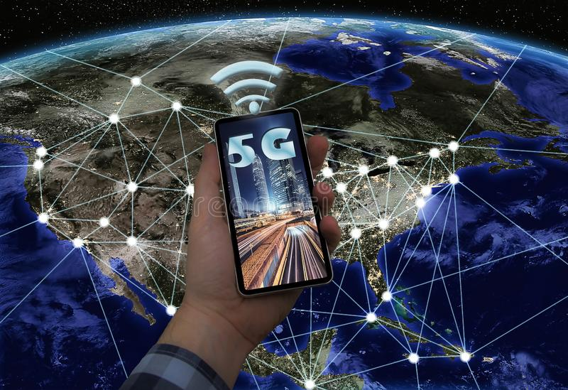 Connected cities to 5G technology. 2019, 5G technology begins to arrive in the big cities stock images