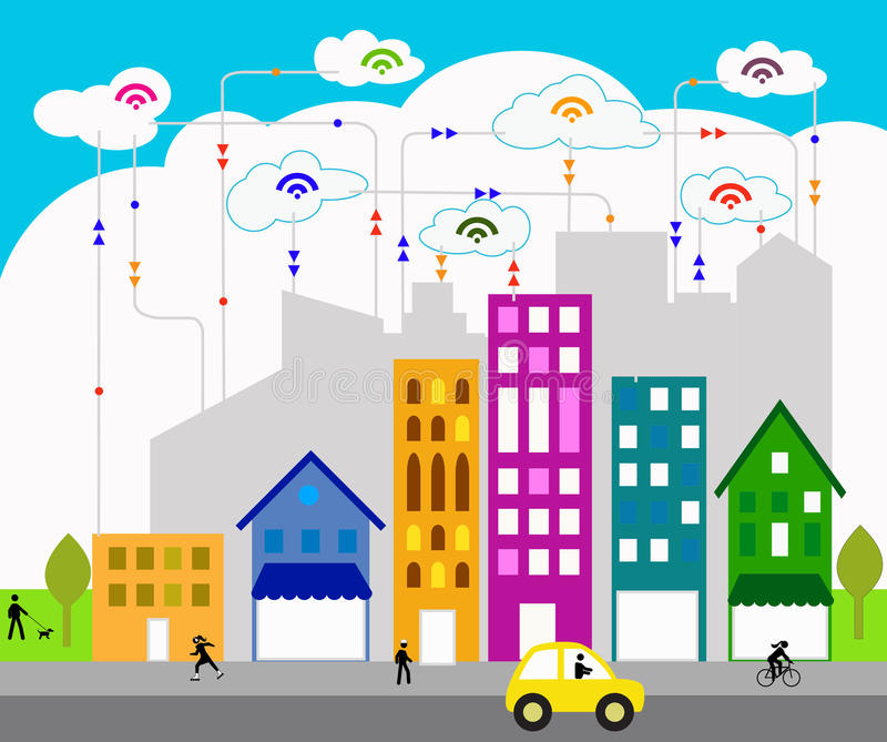 Connected city vector illustration
