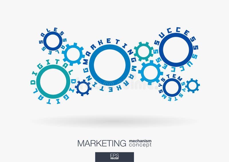 Connected cogwheels, digital marketing system, sales, success words. Social media network, business, develop concept. Connected cogwheels. Digital marketing stock illustration