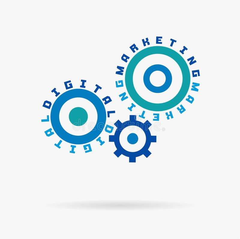 Connected cogwheels, digital marketing words. Integrated gears, text. Social media business, internet develop, network. Sales concept. Typography system idea stock illustration