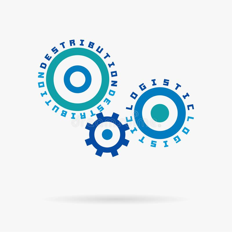 Connected cogwheels. Logistic and destribution words. Integrated gears whith text. Delivery, transport, shipping service vector illustration