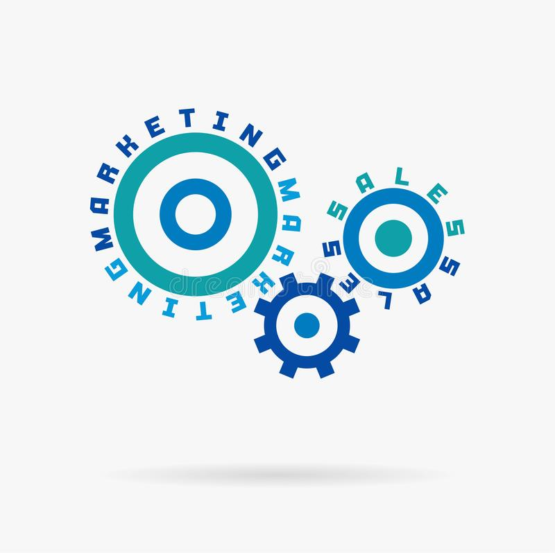 Connected cogwheels, marketing sales words. Integrated gears, text. Social media business, internet develop, digital. Network concept. Typography system idea stock illustration