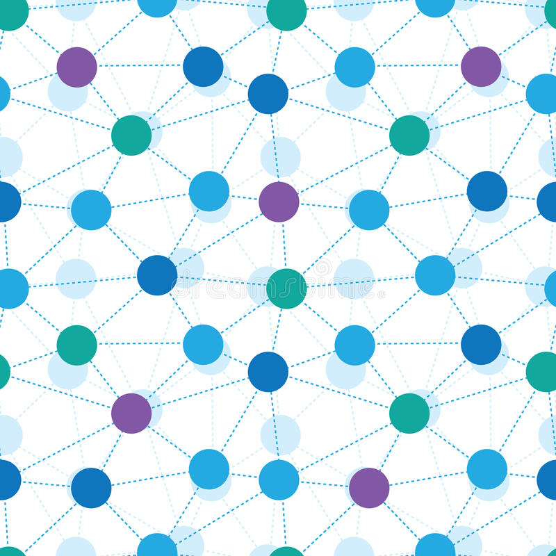 Connected dots seamless pattern background. Vector connected dots seamless pattern background with many connected geometric molecules or particles as symbols of stock illustration