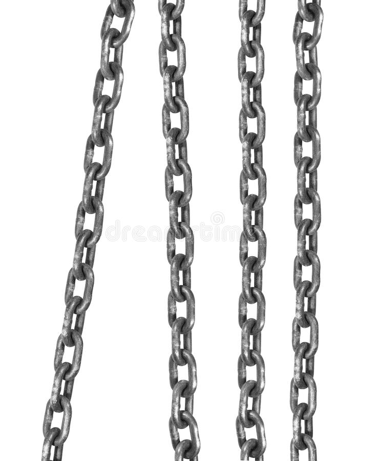 Connected flexible series of metal links. Close up royalty free stock image