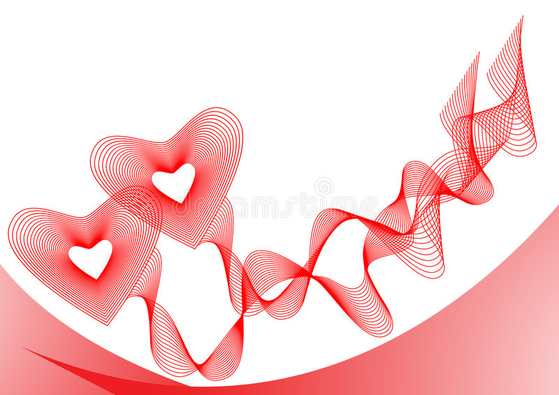 connected hearts red ribbons two απεικόνιση αποθεμάτων