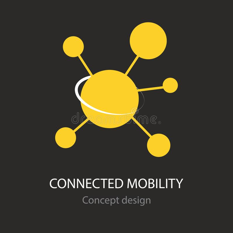 Connected mobility abstract yellow busines icon. Concept creative design stock illustration