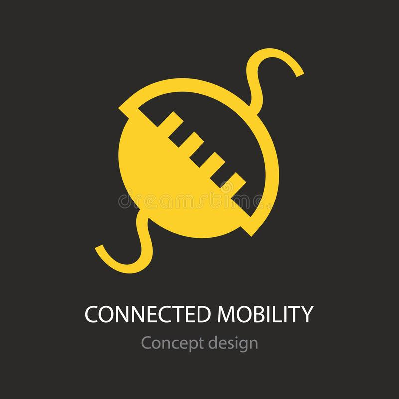 Connected mobility abstract yellow busines icon. Concept creative design vector illustration
