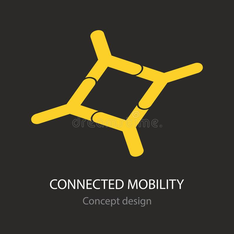 Connected mobility abstract yellow busines icon. Concept creative design royalty free illustration