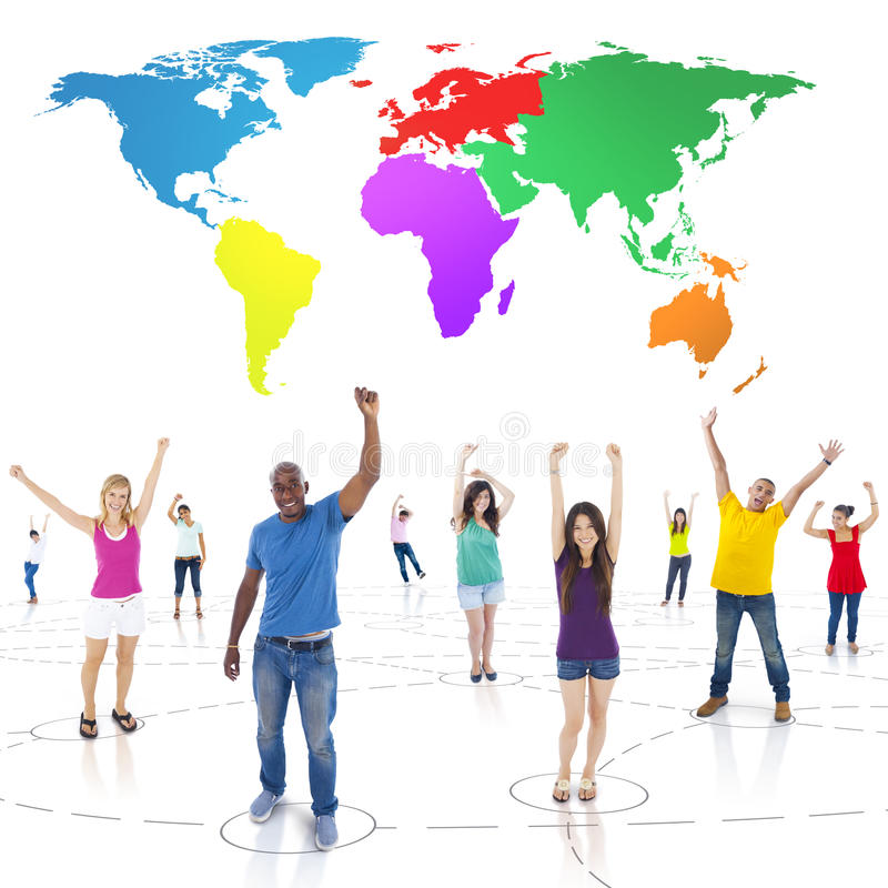 Connected Multi-Ethnic People Arms Raised and Colorful World Above.  royalty free stock photos