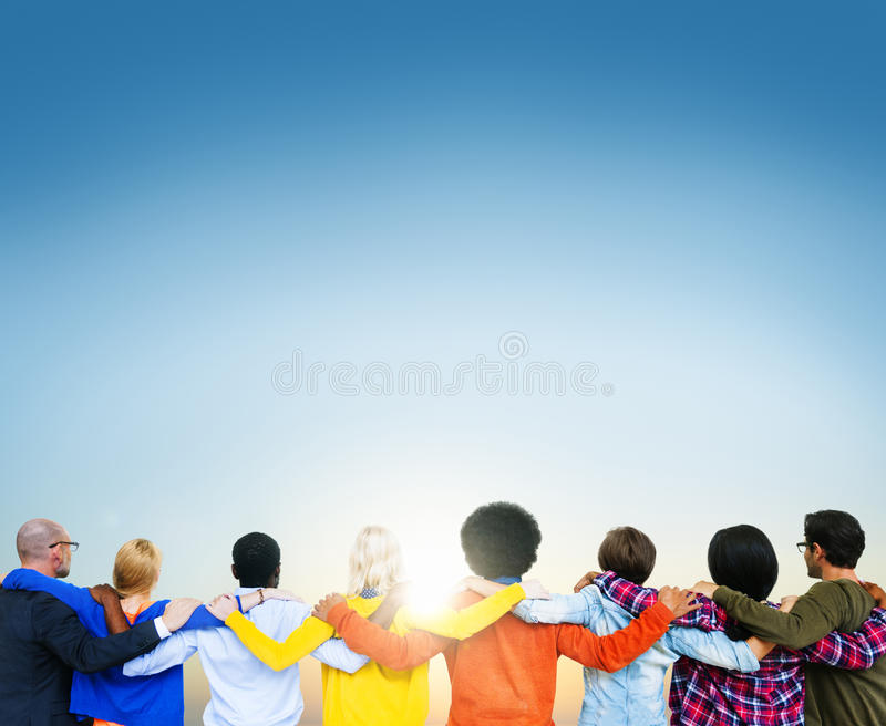 Connected Multiethnic People Turned Backside.  stock photography