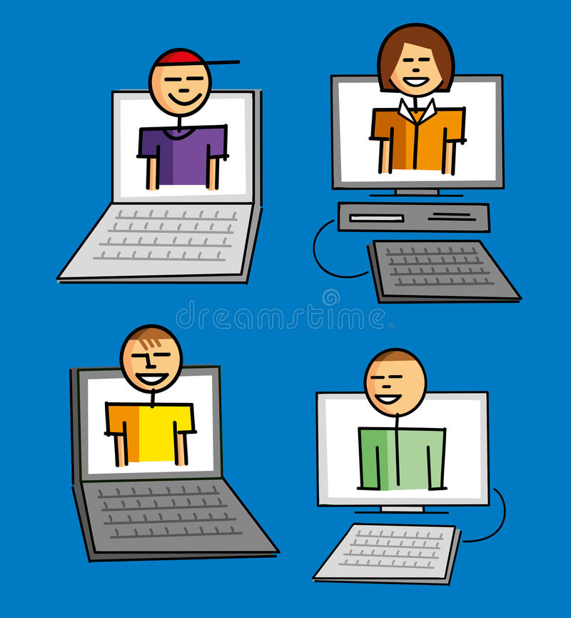 Connected. People chatting on the web royalty free illustration