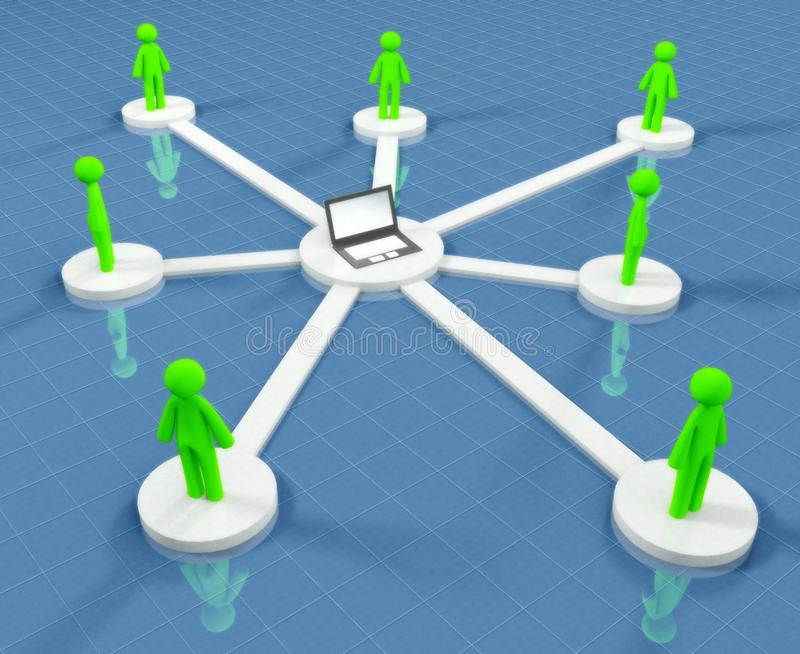 Connected people collaborate in social network. Concept of internet vector illustration