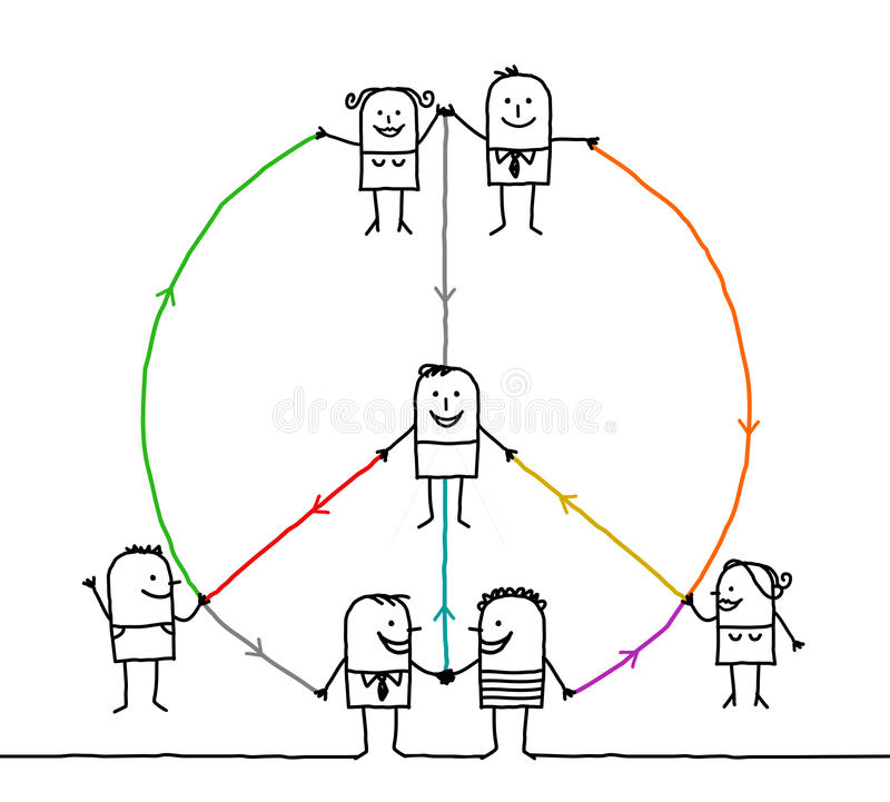 Connected people making a peace and love sign royalty free illustration
