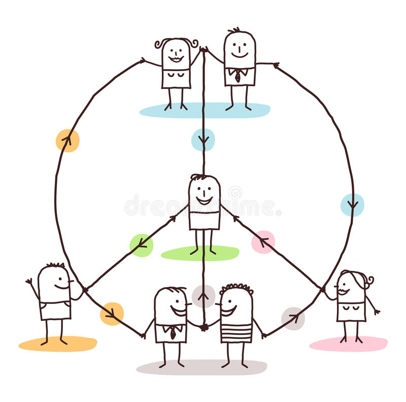 Connected people making a peace and love sign. Vector stock illustration