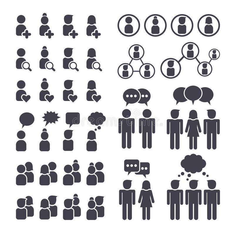 Connected people and social network icons. Social network people connection, man and woman black icons set stock illustration