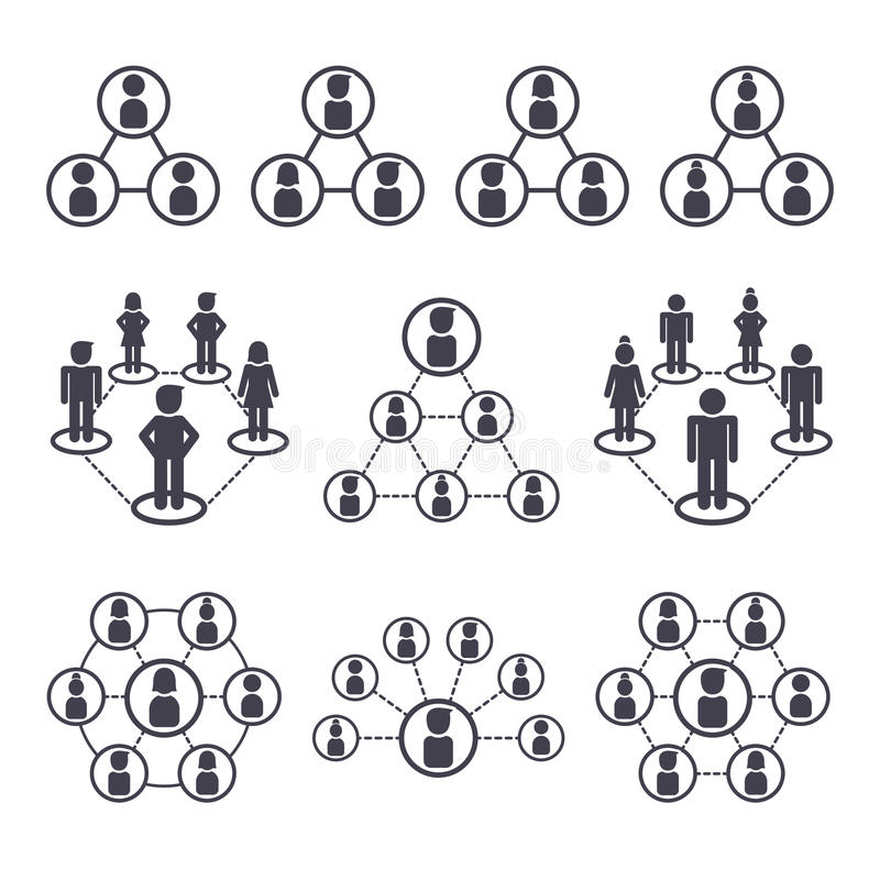 connected people and social network icons stock vector