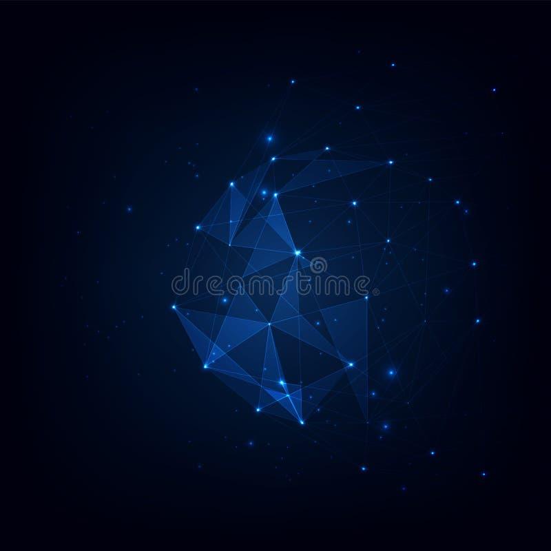 Connected polygons plexus vector background, digital data visualization. vector illustration stock illustration