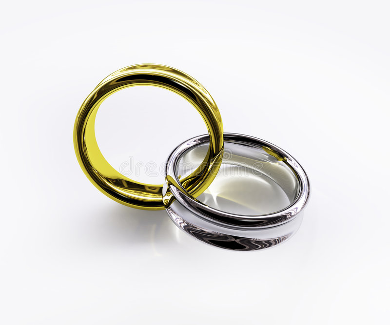Connected Shiny Gold & Silver Ring Royalty Free Stock Photo