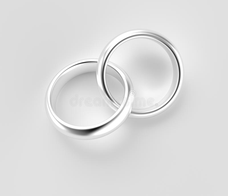 Connected Silver Rings Isolated Stock Illustration