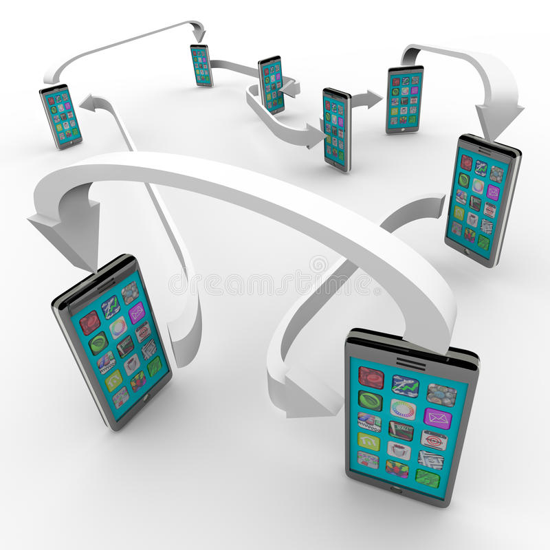 Connected Smart Phones Cell Phone Communication. A number of smart phones with apps on touch screens are connected with arrows symbolizing a network of sharing