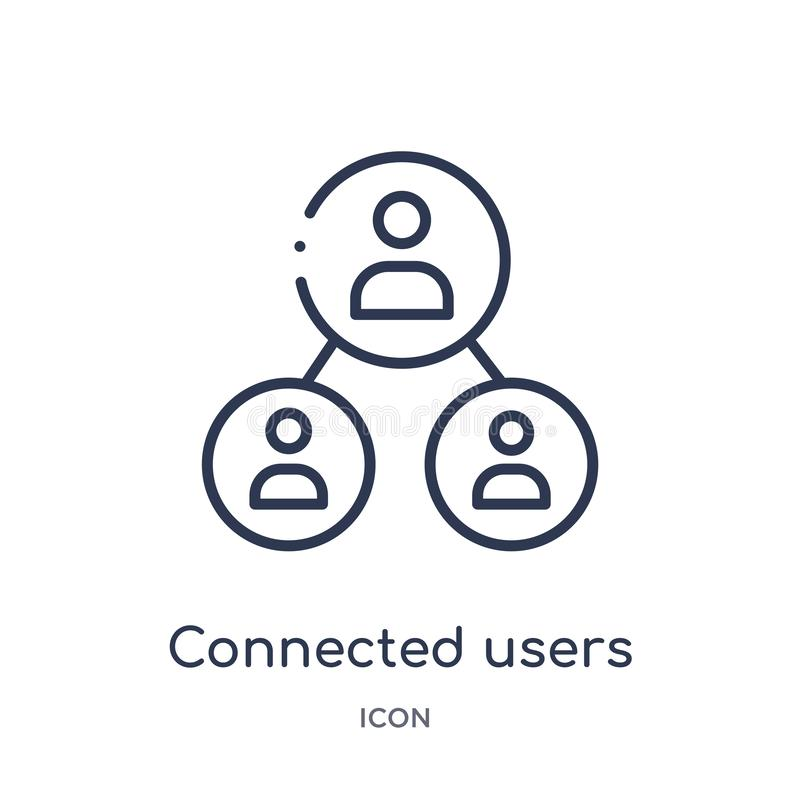 Connected users in flow chart icon from user interface outline collection. Thin line connected users in flow chart icon isolated. On white background stock illustration