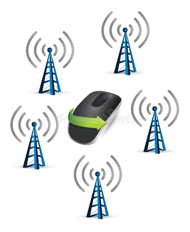 Connected Wireless computer mouse. Isolated on white background stock illustration