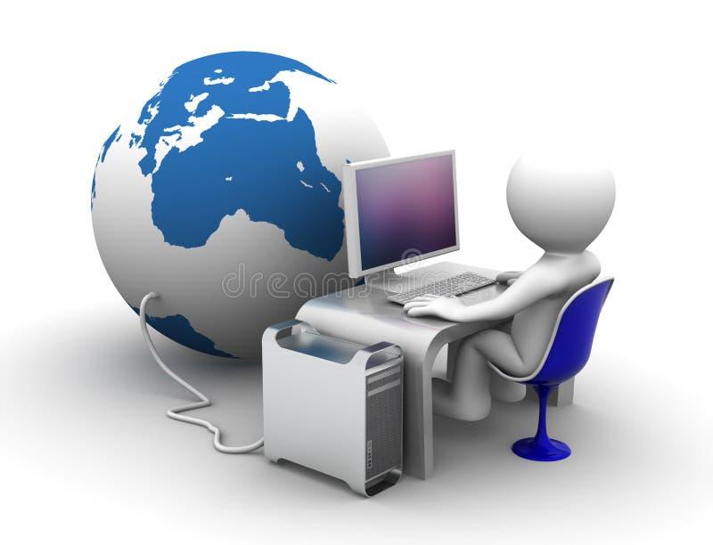 Connectet de lieu de travail au globe illustration de vecteur