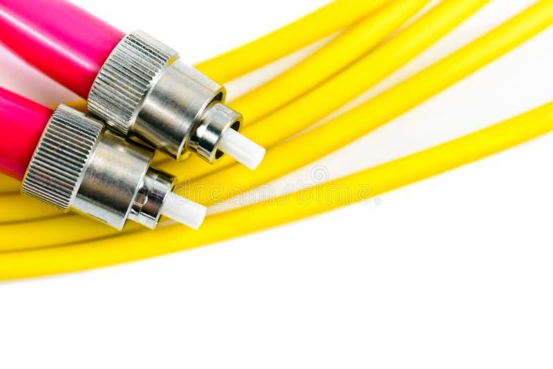Connecteur de prise de lien de câble optique photos stock