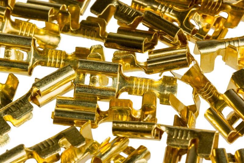 Connecteur de terminal de câble de bronze de composant électrique photos stock