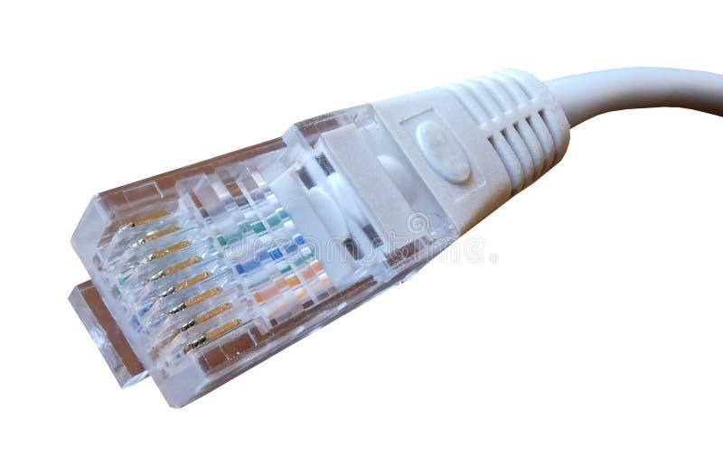 Connecteur et câble de la prise RJ45 d'Internet d'isolement image libre de droits