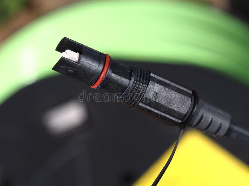 Connecteur optique simple durci par champ de fibre photos stock